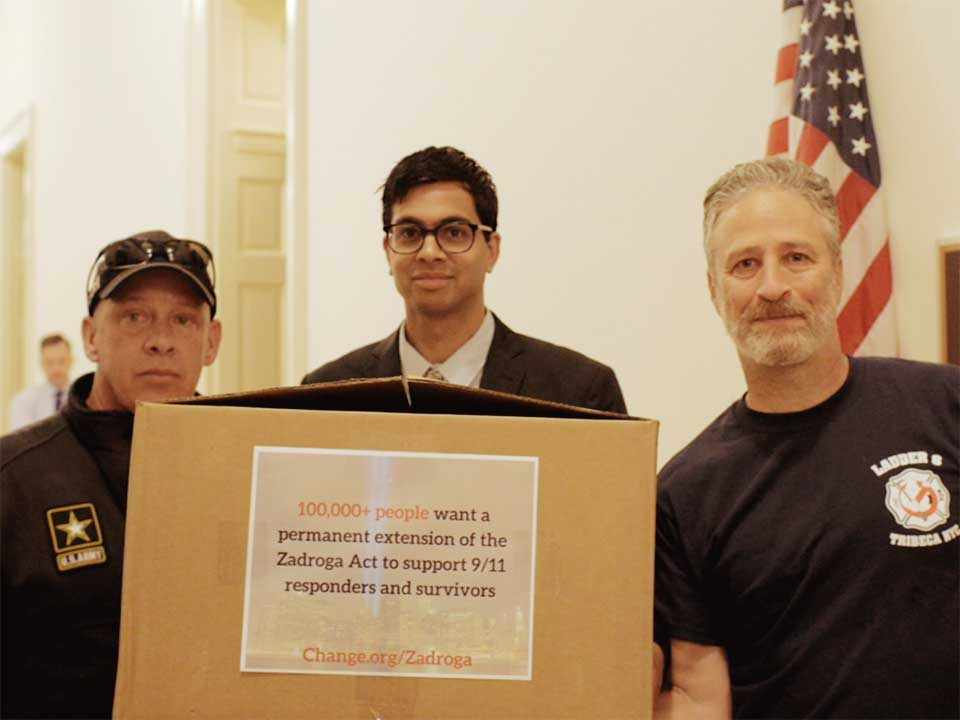 With guidance from senior campaigner Pulin Modi, 9/11 first responder John Feal delivered petition signatures to members of Congress and found influential supporters like Jon Stewart. Just a month later, Congress passed the bill to give permanent healthcare to those affected.